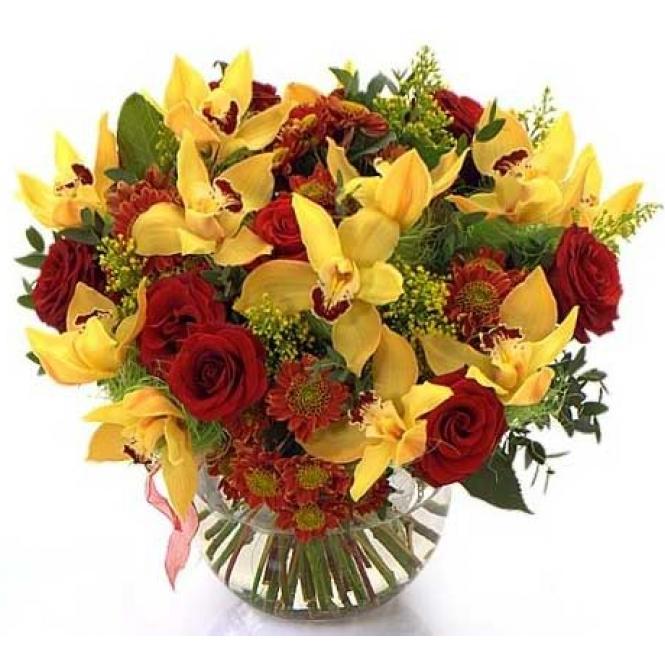 Букет из красных роз и желтой орхидеи, магазин