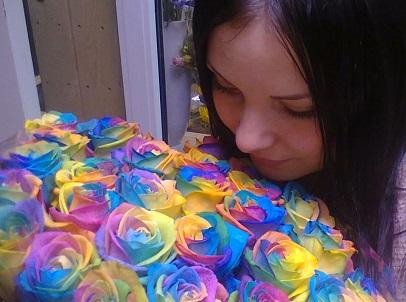 радужные розы спб